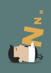 Cartoon man sleeping